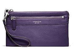 Coach Legacy Leather Zippy Wallet, Black Violet