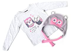 Girls Owl Hat & Tee