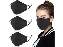Reusable Cotton Face Masks (Black 3-Pack)