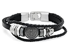 Men's Genuine Black Leather Bracelet With Anchor Medallion Accent