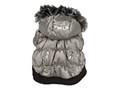 Grey Metallic Fashion Parka with Hood