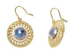 PinWheel Blue Mabe Pearl CZ Earrings