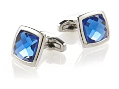 Blue and Stainless Steel Square Cufflinks