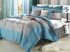 Mustang 8Pc Comforter Set - Blue - 2 Sizes