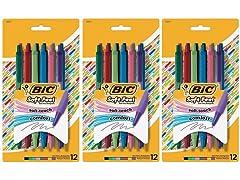 36 Pack BIC Soft Feel Pens, Multi-Color