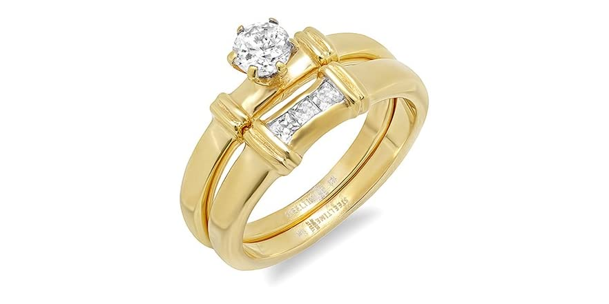 Set Of Two Stackable Engagement Rings Fashion