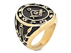 2-Tone Masonic Ring w/ 18kt Plating