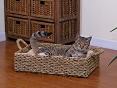 Seagrass Boxed Cat Bed with Pillow