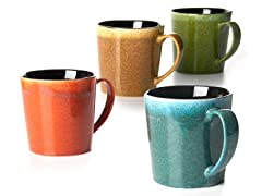 Four 16 oz Mugs Spotted Glaze