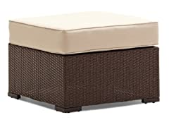 All-Weather Wicker Ottoman, Dark Brown