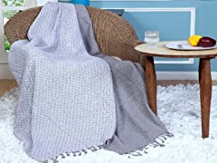 Affinity Linens Cross Stitch Cotton Throw