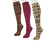3-Pair Knee High Scandinavian Sock Pack