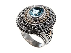 18kt Gold Accent Silver Blue Topaz Ring