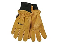Men's Pigskin Leather Heat Keep Ski Gloves, Medium