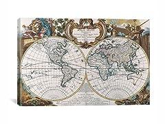 Double Hemisphere Map of The World 26x18
