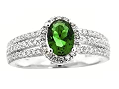 SS Tri Band Micropave Green Oval-Cut CZ Ring