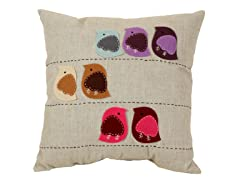 Felt Multicolored Birds 18-inch Pillow