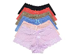 Floral Lace Cheeky Boxer Panties 6-Pack