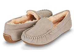 Womens Basic Faux Fur Moccasin Slipper, Grey