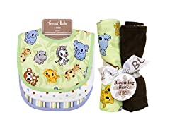 Trend Lab Bib & Burp Cloth Set - Chibi Zoo