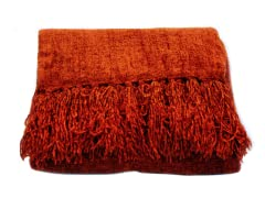 Susan Chenille Throw - Pomegranate