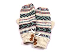 Girls Pastel Purple Button Mittens