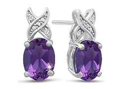 Platinum Plated 3 Carat Oval Shape Amethyst and Diamond Earrings