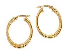 14K Gold Texture-Twisted Oval Hoop Earring