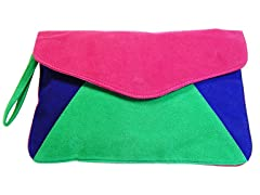 Green, Pink & Blue Clutch Bag