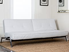 Paris White Convertible Euro Sofa