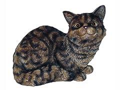 Cat Sitting Down Statue, Tiger Gray