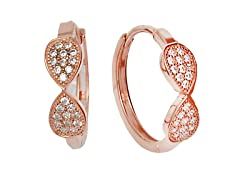 18K Rose Gold Plated CZ Huggie Earring