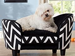Black Chevron Snuggle Bed - Small