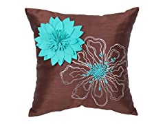 Full Bloom Turquoise 18-inch Pillow