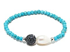 SS Turquoise Gemstone Freshwater Pearl Crystal Ball Stretch Bracelet