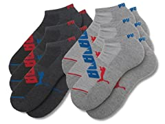 Men's Low Cut 6pk - Grey/Red/Blue