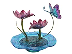 Butterfly Fusion Glass Tabletop Water Fountain