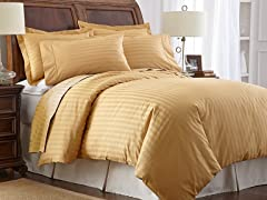 500TC Cotton Duvet Cover Set-Gold-Queen