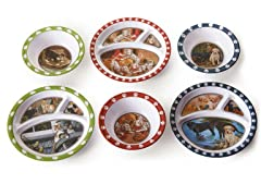 6 Piece Plate/Bowl Set - Animals