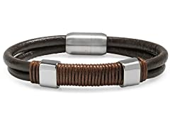 Leather Bracelet w/ Rope & Rectangle