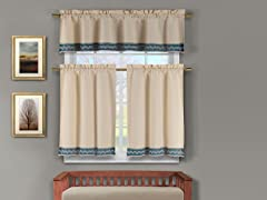 Zoey Kitchen Curtain Set-3 Colors