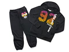 Girls Black Fleece Set