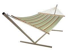 Quilted Sunbrella Hammock, Miramar Moss