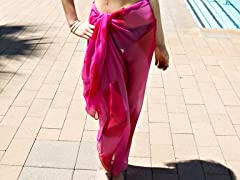 Tie-Dye Sheer Sarong Hot Pink