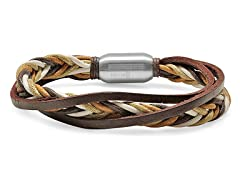Men's Leather Bracelet w/ Rope