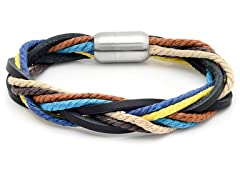 Men's Leather Bracelet w/ Muli-Color