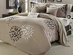 Cheila 8Pc Comforter Set-Taupe-2 Sizes