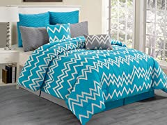 Devlin Flocking 8Pc Comforter Set-Blue-2 Sizes