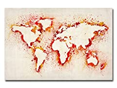 Paint Outline World Map Canvas Art