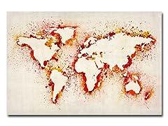 Paint Outline World Map Canvas Art
